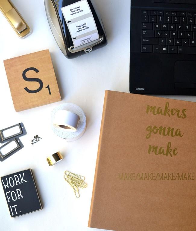 Label binders, folders and school supplies with adhesive vinyl.