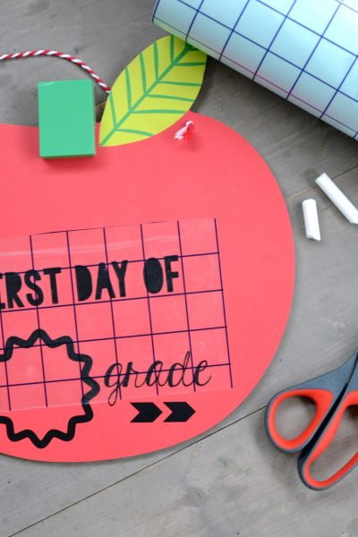First Day of School Chalkboard – Using Free Cut File Shapes