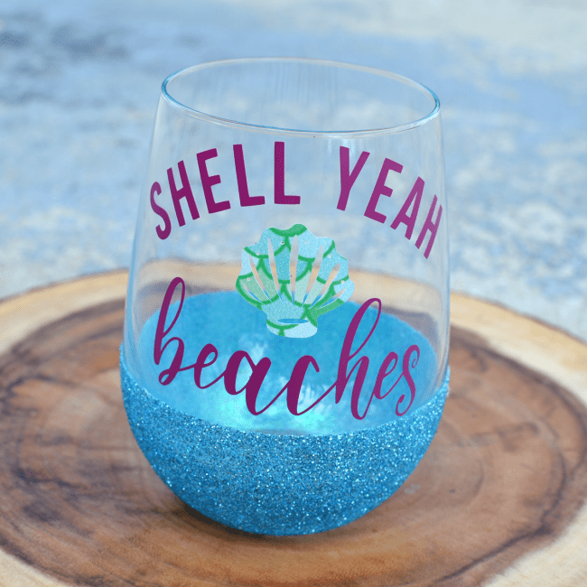 DIY Dishwasher Safe Glitter Glasses Tutorial. Step by step pictures - personalized with adhesive vinyl using a Silhouette or Cameo cutting machine.