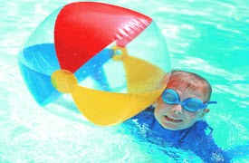 swimming pool games - blow up ball