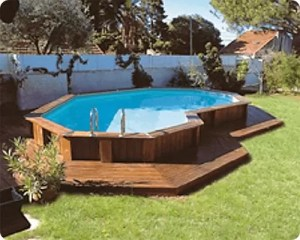 Semi Buried Pool with Composite Deck