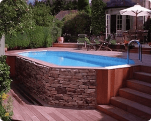 Pool Wrapped in Stone and Wood
