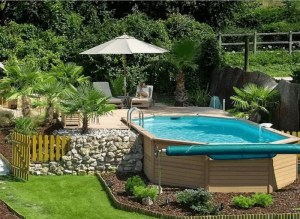 A Pool with Small Garden and Foldable Cover