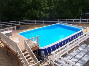 Rectangle Above-Ground Pool with Deck