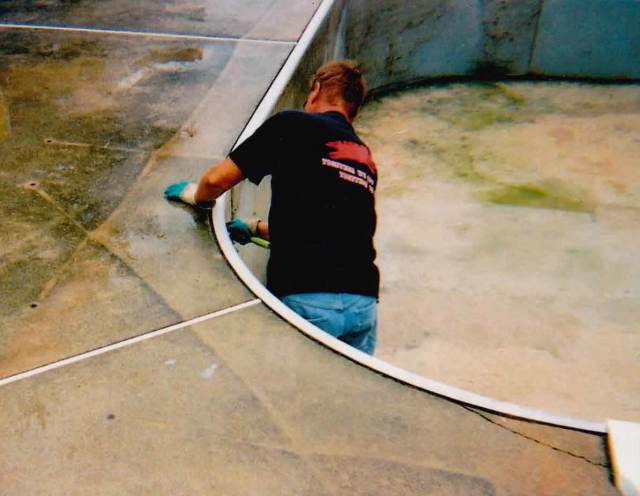 Inground pool liner installer cleaning bead track