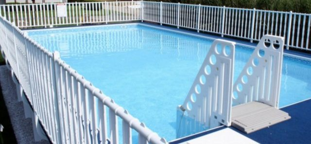 Admirals Walk Pool - Rectangle Pool With Deck and Fence.