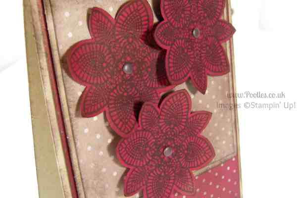 Stampin' Up! UK Demonstrator Pootles - Cherry Cobbler Petal Potpourri with Crumb Cake Close Up Flower Medallion Punch