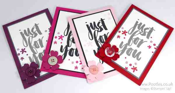 Stampin' Up! Demonstrator Pootles - March Customer Thank You Cards Pinks and Purples