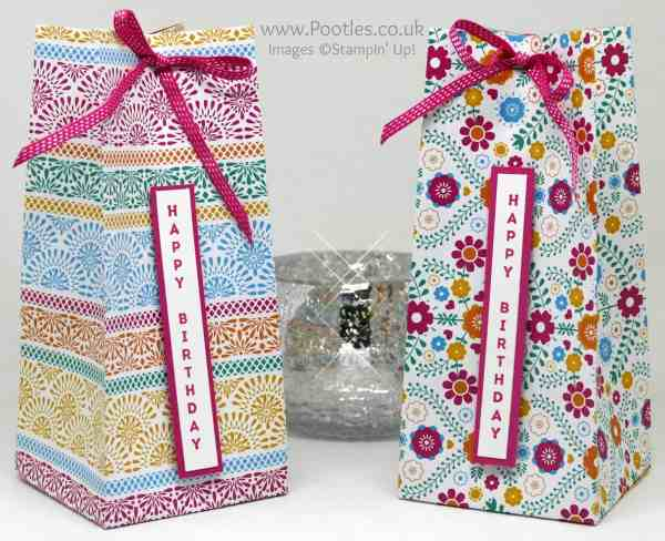 Stampin' Up! Demonstrator Pootles - Tall Festive Birthday Bag using Stampin' Up! Vertical Greetings