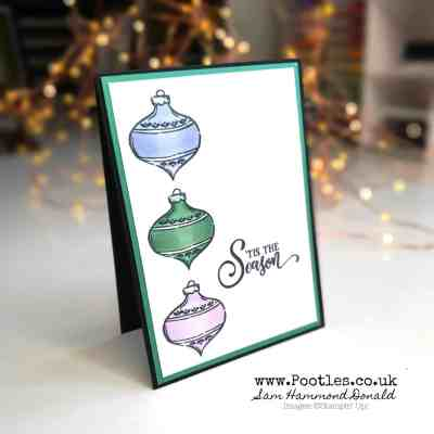Pretty Christmas Card using Tag Buffet and Wink of Stella