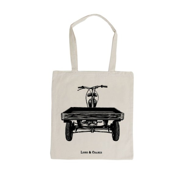 LIONS and CRANES Totebag Flakmoppel