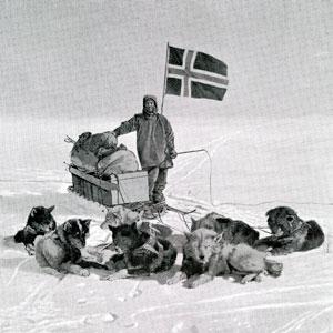 Captain Roald Engelbregt Gravning Amundsen at the South pole under the Norwegian flag, December 14, 1911.