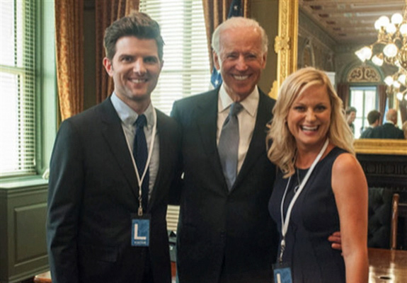 Adam Scott, Joe Biden and Amy Poehler