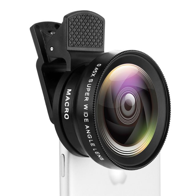 Mobile Phone Lens 0.45X Wide Angle Len & 12.5X Macro HD Camera Lens Universal for iPhone Android Phone