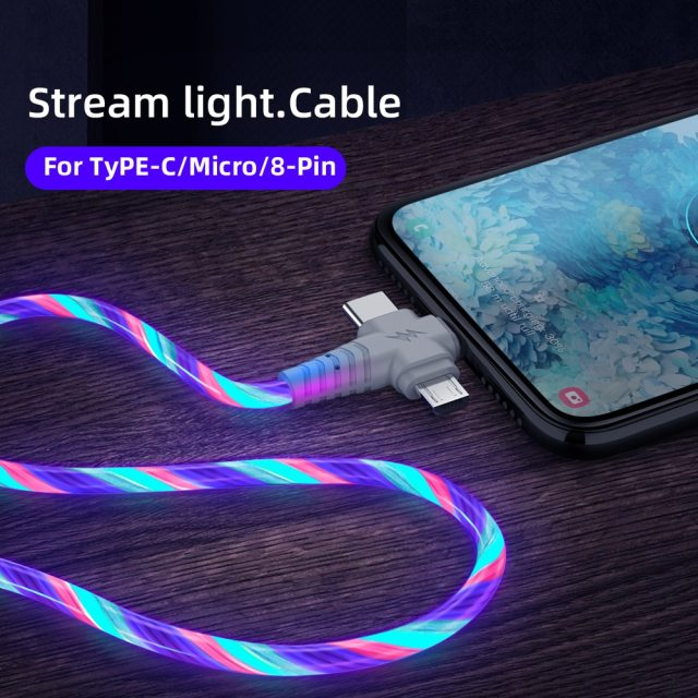3in1 Flow Luminous Lighting usb cable for Samsung 3 in 1 2in1 LED Micro USB Type C 8Pin charger Wire for iPhone Huawei Xiaomi