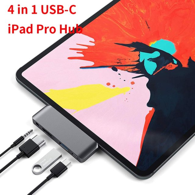 USB Type-C Mobile Pro Hub Adapter with USB-C PD Charging USB 3.0 & 3.5mm Headphone Jack HDMI-compatible For 2020 iPad Pro Tablet