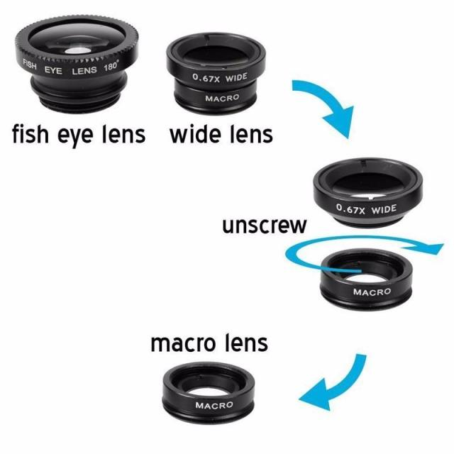 Fish Eye Lenses Mobile Phone Lens For iPhone Samsung Huawei Xiaomi Oneplus 7 Macro Fisheye Wide Angle Camera Lens Kits Lentille