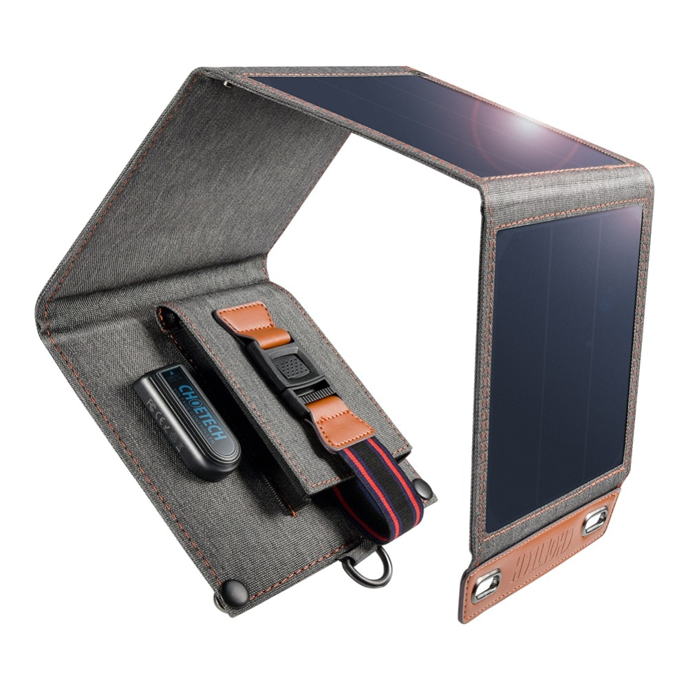 CHOETECH Solar Charger 14W USB Foldable Phone Travel Charger With SunPower Solar Panel Waterproof For iPhone X/8/7/6s/Plus