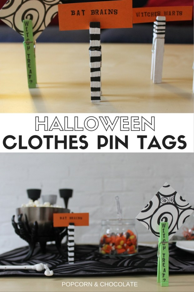 Halloween Clothes Pin Snack Tags | Popcorn & Chocolate