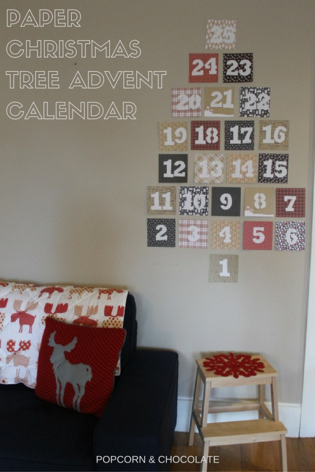 DIY paper Christmas tree advent calendar | Popcorn & Chocolate