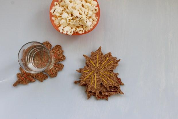 DIY cork board embroidered leaf coasters | Popcorn & Chocolate