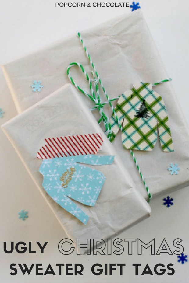 Ugly Christmas Sweater Gift Tags | Popcorn & Chocolate