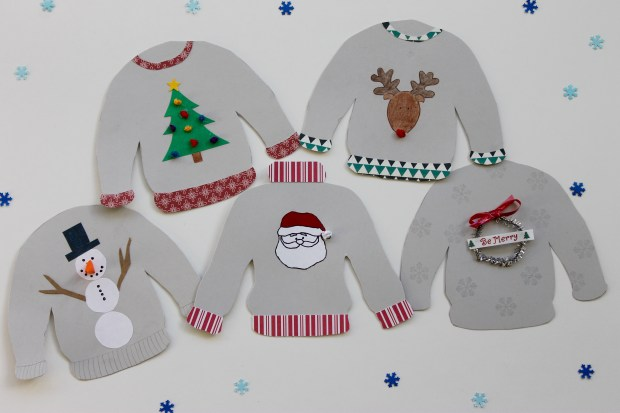 Paper ugly Christmas sweater garland