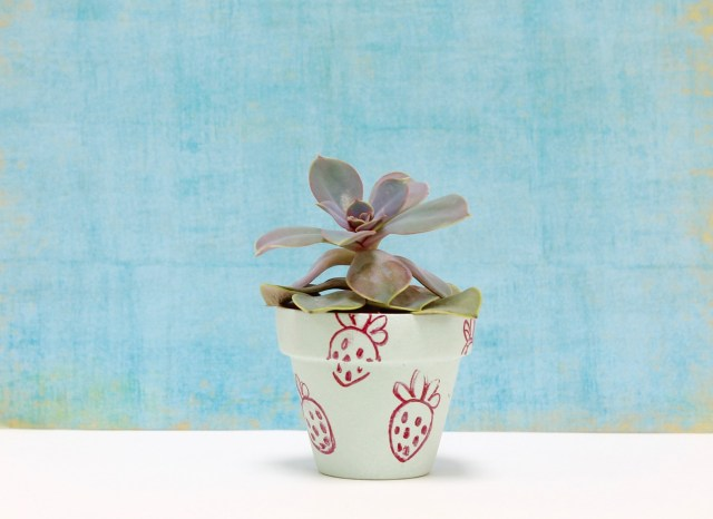 Strawberry stamped succulent holder | Popcorn & Chocolate