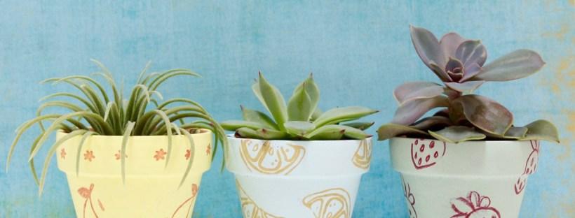DIY Stamped Clay Flower Pots   Popcorn & Chocolate