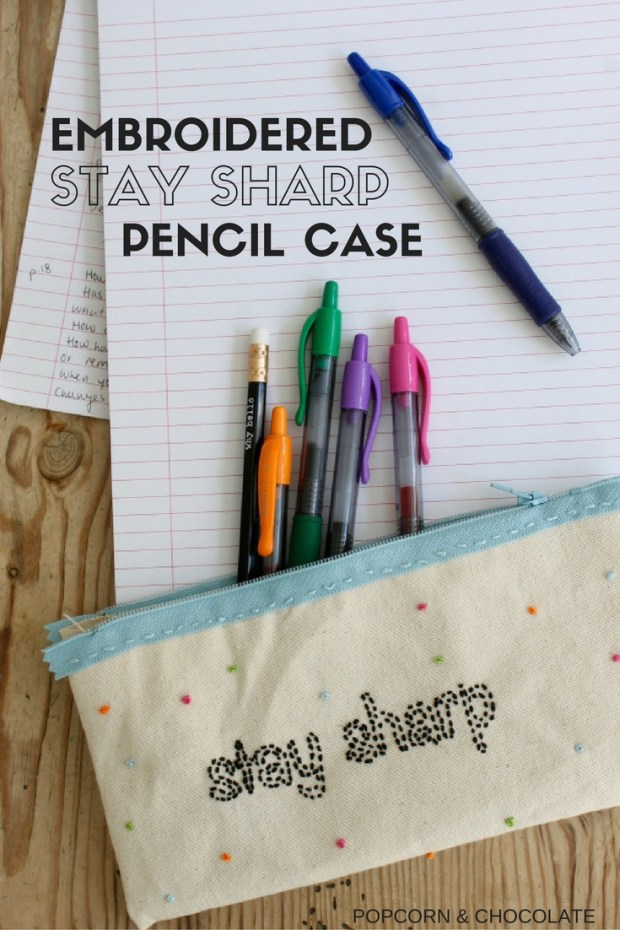 Embroidered stay sharp pencil case | Popcorn & Chocolate