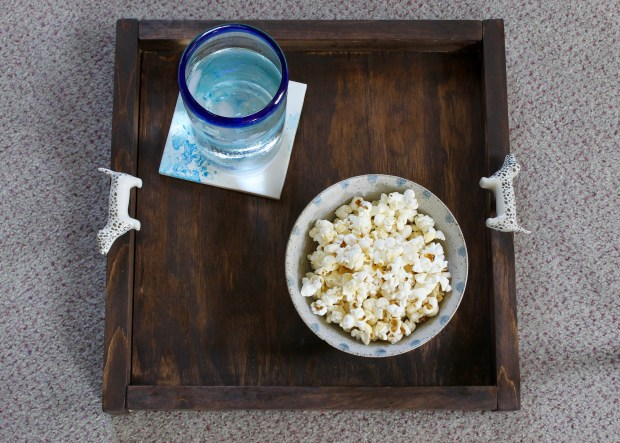 Wooden Tray with Door knob handles | Popcorn & Chocolate