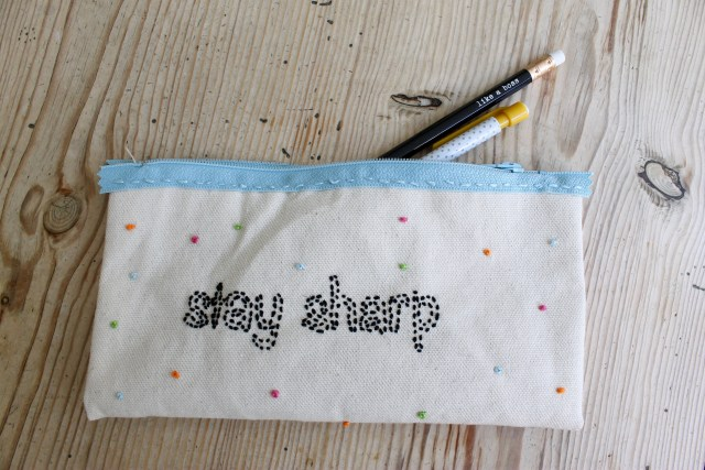 Embroidered pencil case for back to school   Popcorn & Chocolate