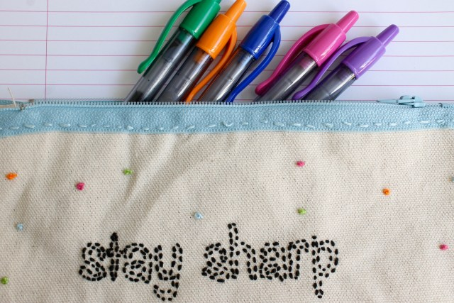DIY 'Stay Sharp' Embroidered Pencil Case   Popcorn & Chocolate