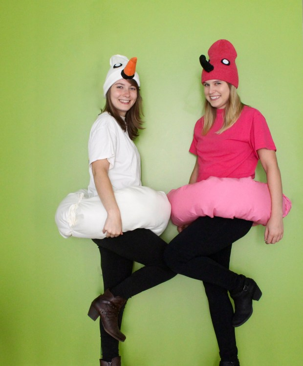 Flamingo and swan pool float Halloween costume | Popcorn & Chocolate