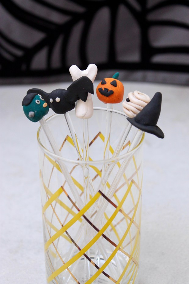 Last Minute Halloween Sculpey Drink Stirrers | Popcorn & Chocolate