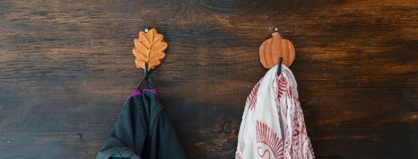 Leaf and pumpkin wall hooks