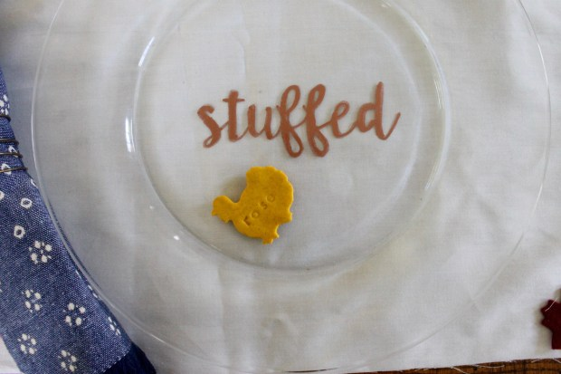Copper writing Thanksgiving plates