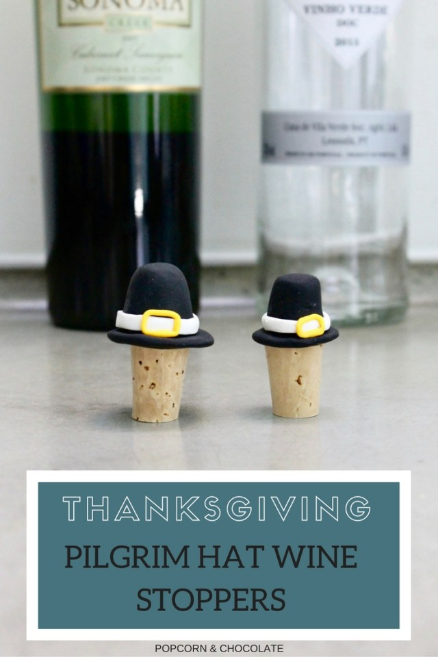 thanksgiving pilgrim hat wine stoppers | Popcorn and Chocolate