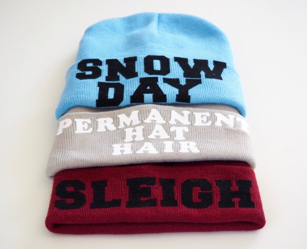 DIY Iron-on Slogan beanies | Popcorn and Chocolate