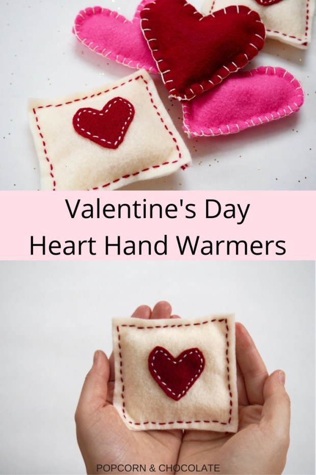 Valentine's Day Heart Hand Warmers | Popcorn and Chocolate