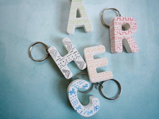Mud Cloth Patterned Plaster Keychain   Popcorn and Chocolate
