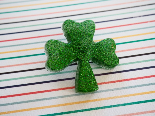 St. Patrick's day glittery resin shamrock pin | Popcorn and Chocolate