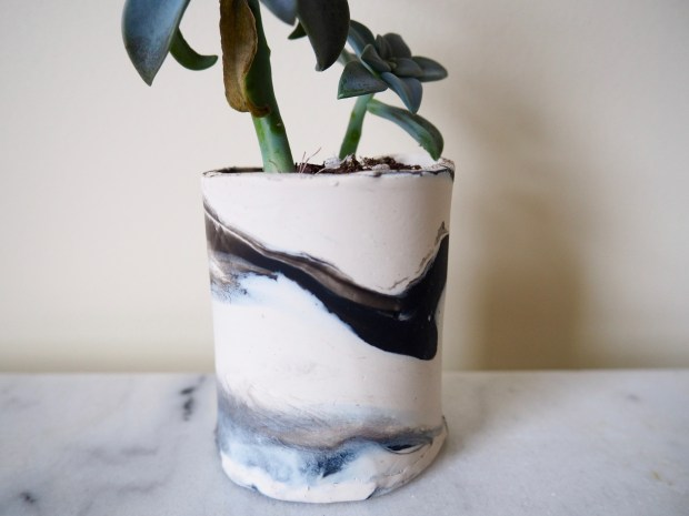 DIY Marbled Clay Planter | Popcorn and Chocolate