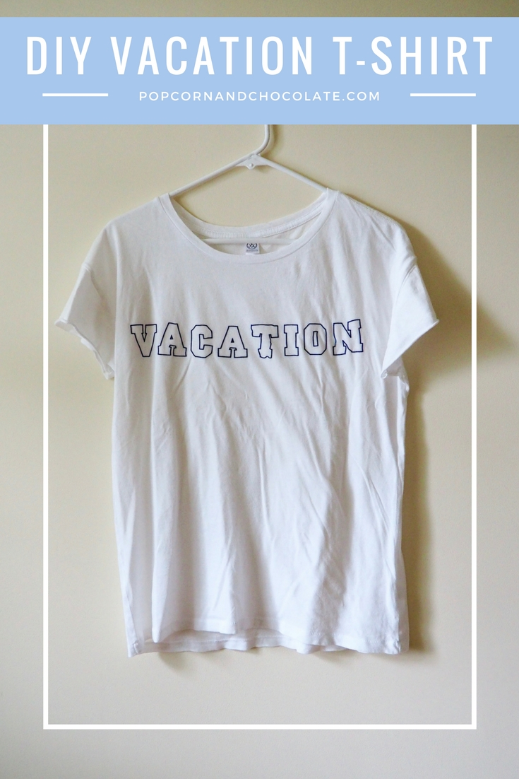 DIY Faux embroidered vacation t-shirt | Popcorn and Chocolate