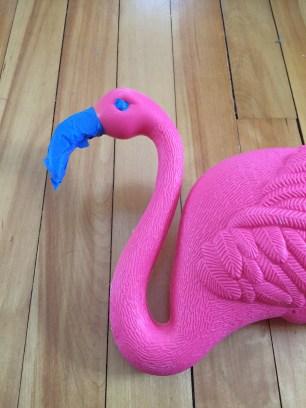 Spray painted lawn flamingo