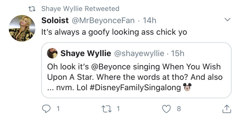 Beyonce Fans Throw Shade On Twitter During Disney Family Singalong
