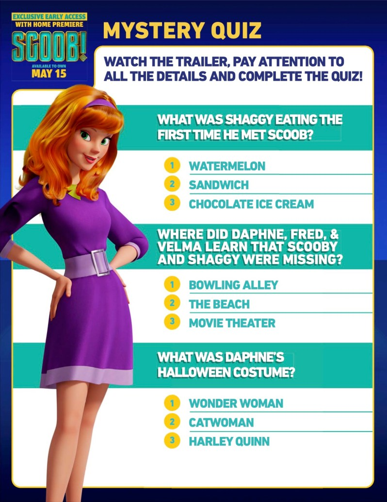 SCOOB Activity Sheets Mystery Quiz