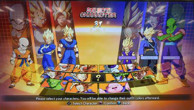 dragon ball fighterz - choix des personnages