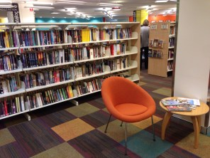 No nook is wasted. Here, a secluded and comfortable place to engage with the literature and information that surrounds.