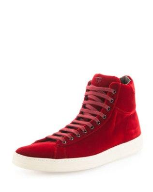 Tom Ford Red Velvet Sneaker